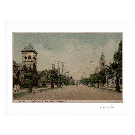 Vista de la calle de Cajon con cuatro iglesias Tarjetas Postales