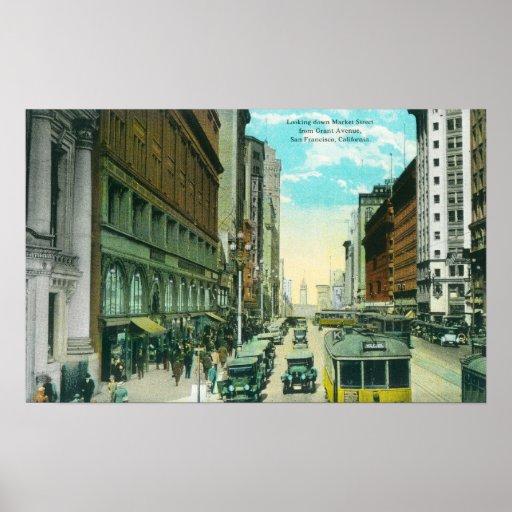Vista de la calle de mercado de la calle de Grant Poster