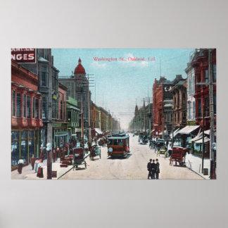 Vista de la calle de Washington con los teleférico Póster