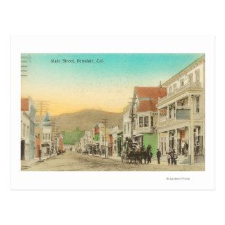 Vista de la calle principal, carro del caballo tarjeta postal