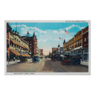 Vista de la calle principal con los coches de Ford Posters