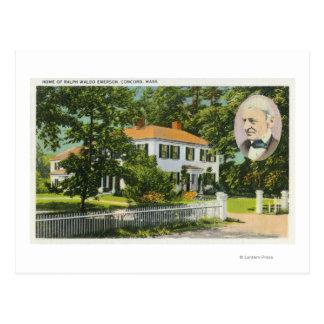 Vista de la casa de Ralph Waldo Emerson Tarjetas Postales
