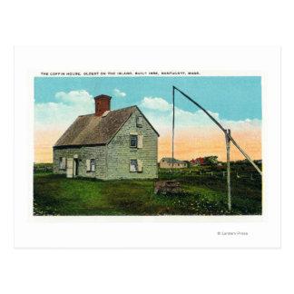 Vista de la casa del ataúd, más vieja en la isla tarjeta postal