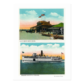 Vista de la casa del baño de la playa del tarjetas postales