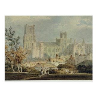 Vista de la catedral de Ely (lápiz y w/c en el Postal
