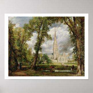 Vista de la catedral de Salisbury de Grou del obis Póster