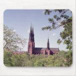 Vista de la catedral de Uppsala del castillo Alfombrillas De Raton