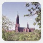 Vista de la catedral de Uppsala del castillo Pegatina Cuadrada