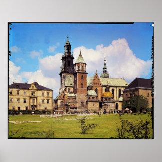 Vista de la catedral de Wawel Póster