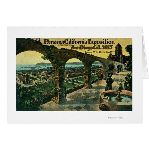 Vista de la ciudad de una misión, expo de Panamá-C Tarjeta De Felicitación