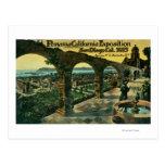 Vista de la ciudad de una misión, expo de postales