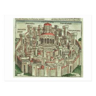 Vista de la ciudad emparedada de Jerusalén que mue Postal