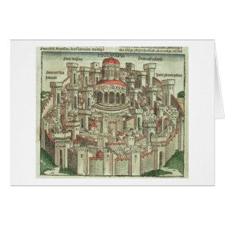 Vista de la ciudad emparedada de Jerusalén que mue Tarjeta De Felicitación