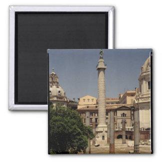 Vista de la columna de Trajan, ANUNCIO 113 Imán Cuadrado