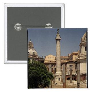 Vista de la columna de Trajan, ANUNCIO 113 Pin Cuadrado