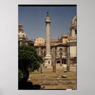 Vista de la columna de Trajan, ANUNCIO 113 Póster