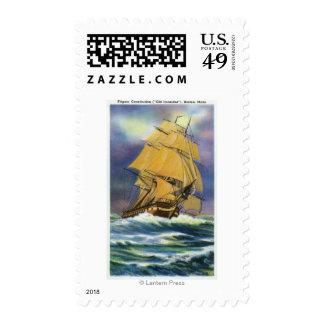 Vista de la constitución de la fragata, viejo sellos