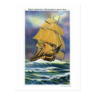 Vista de la constitución de la fragata, viejo tarjetas postales