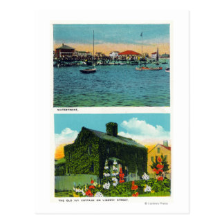 Vista de la costa, cabaña vieja de la hiedra en postales