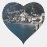Vista de la costa de Amalfi Pegatina En Forma De Corazón