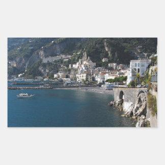 Vista de la costa de Amalfi Pegatina Rectangular