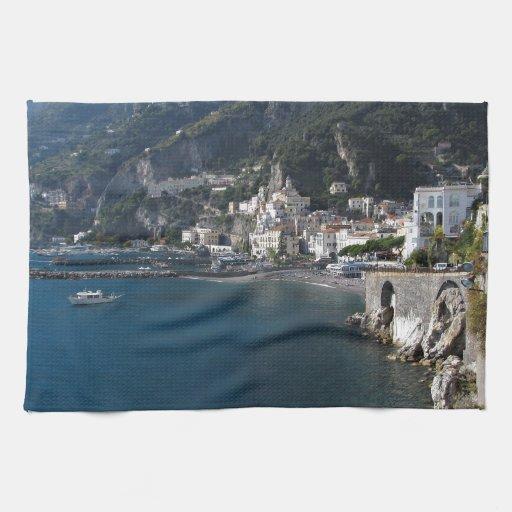 Vista de la costa de Amalfi Toallas De Mano