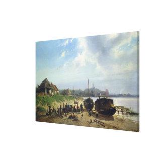 Vista de la costa holandesa impresión de lienzo