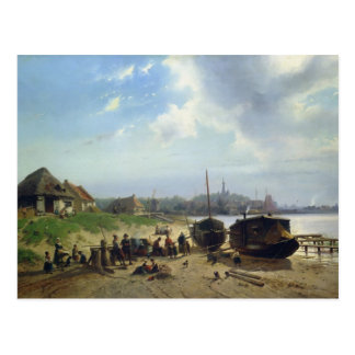 Vista de la costa holandesa postal