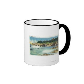 Vista de la cueva del niño en la isla de la ardill tazas de café
