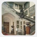 Vista de la escalera Pasillo, 1812-15 Pegatina Cuadrada