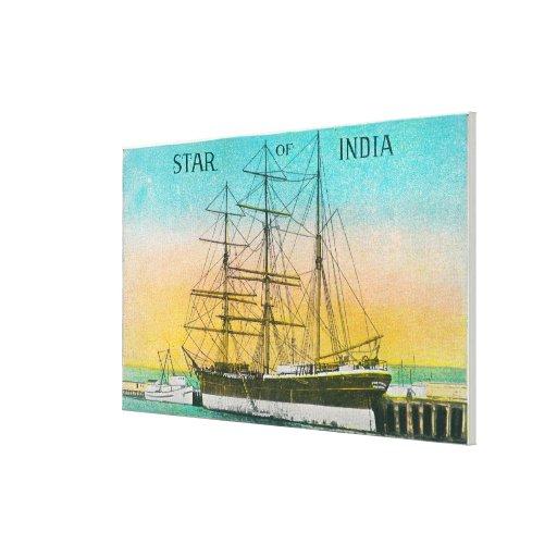 Vista de la estrella del barco de la India atracad Lienzo Envuelto Para Galerias