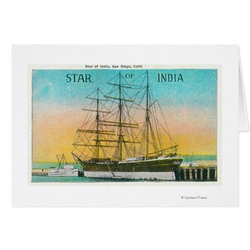 Vista de la estrella del barco de la India atracad Tarjeta De Felicitación