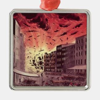 Vista de la explosión fabulosa en el gran fuego adornos
