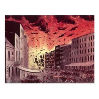 Vista de la explosión fabulosa en el gran fuego tarjeta postal