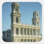 Vista de la fachada de la iglesia de calcomanías cuadradas personalizadas