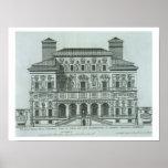 Vista de la fachada del chalet Borghese, Roma (eng Poster