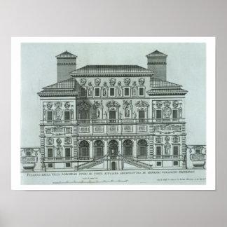 Vista de la fachada del chalet Borghese, Roma (eng Póster