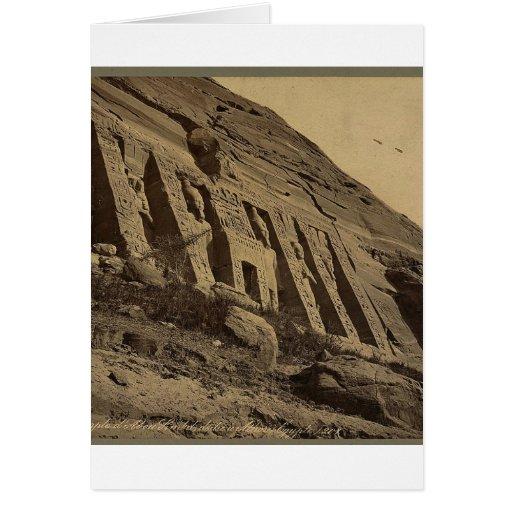 Vista de la fachada del pequeño templo en Abū Sunb Tarjeta De Felicitación