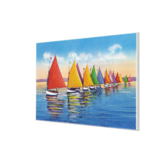 Vista de la flota del velero del arco iris lienzo envuelto para galerías