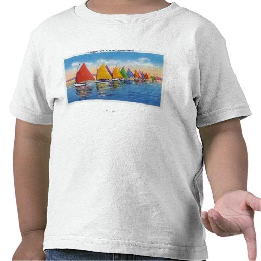 Vista de la flota del velero del arco iris camiseta