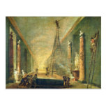 Vista de la galería magnífica del Louvre Postales