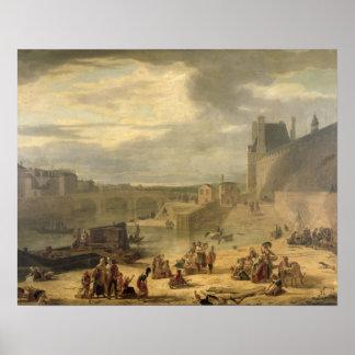 Vista de la galería magnífica del Louvre Póster