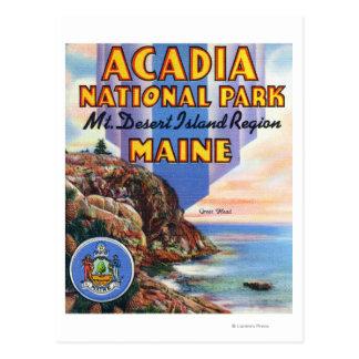 Vista de la grandes cabeza y sello de Maine Postales