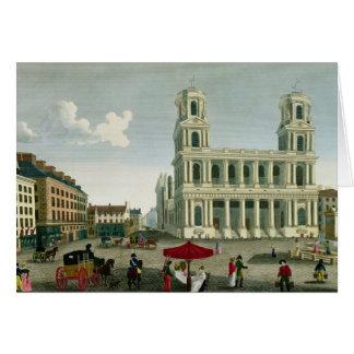 Vista de la iglesia del Santo-Sulpice Tarjeta De Felicitación