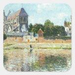 Vista de la iglesia en Vernon de Claude Monet Pegatina Cuadrada