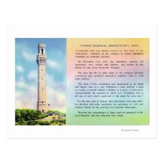 Vista de la información conmemorativa y breve del tarjeta postal
