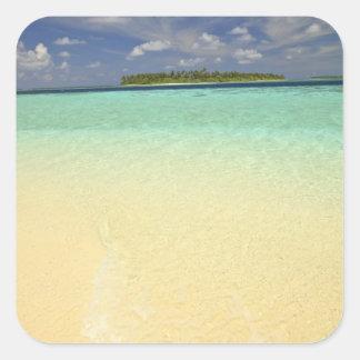 Vista de la isla de Funadoo de Funadovilligilli Pegatina Cuadrada