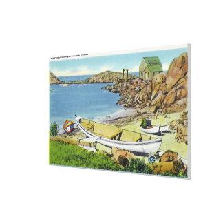 Vista de la isla de Monhegan, escena de la playa Lona Envuelta Para Galerías