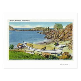 Vista de la isla de Monhegan, escena de la playa Postal