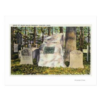 Vista de la lápida mortuaria de Ralph Waldo Tarjetas Postales